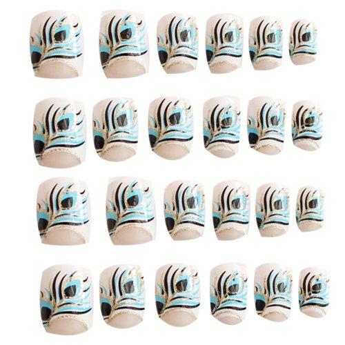 24 Pcs Fashion Nails Stickers Beautiful Nail Decorations False Nails Tips [C]