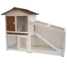 @Pet Rabbit Hutch Tommy White and Brown 140x65x100 cm 20072