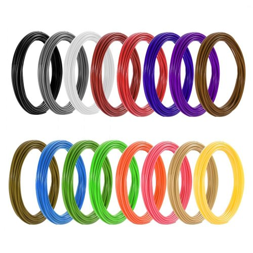 3D Pen Filament Refills PLA, Meterk 3D Printing Pen Filament Refills 16 Colors 20ft Each 1.75mm Total 320ft Filament Refill for Polaroid Aerb...