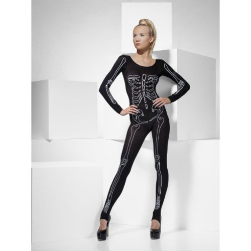 e006c9ead Black Skeleton Print Bodysuit - skeleton bodysuit print ladies fancy dress  halloween womens catsuit size fever costume one black on OnBuy