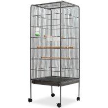 vidaXL Bird Cage Steel Black 54x54x146 cm