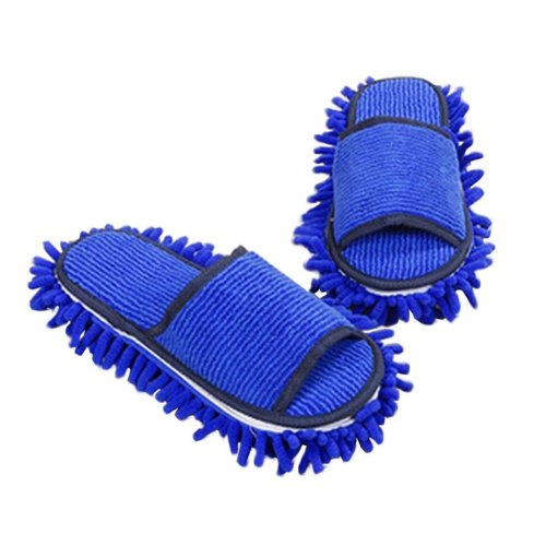 [Blue] Creative Detachable Mop Slippers Floor Cleaning Shoes