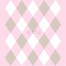 wallpaper rhombus motif baby pink - 114925
