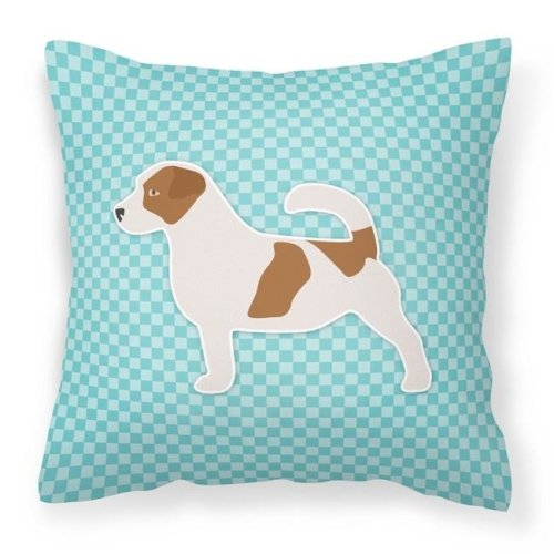 Carolines Treasures BB3707PW1818 Jack Russell Terrier Checkerboard Blue Fabric Decorative Pillow