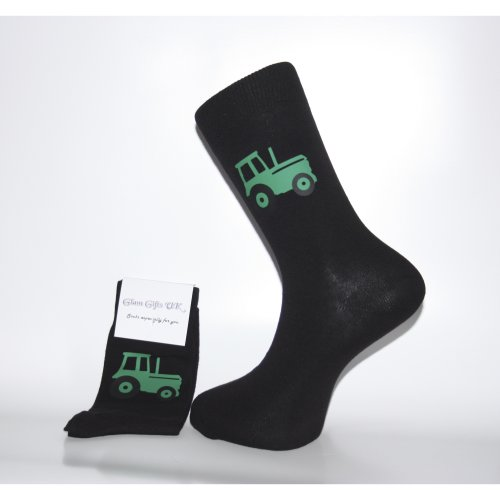 Black Socks With Green Tractor Design. Great Novelty Socks for that Christmas Gift, Birthday Present or general Gift