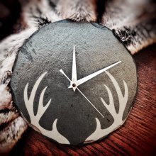 Stag Antler Design Round Slate Clock - 22cm - Wall Mounting