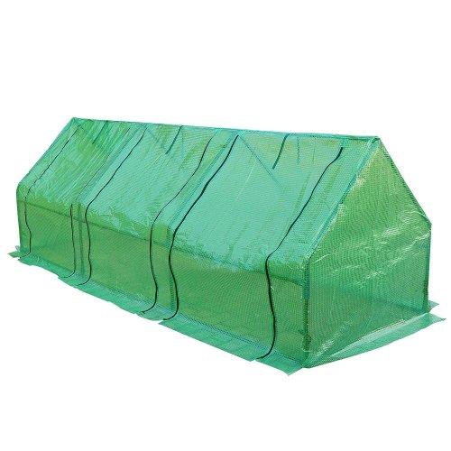 Outsunny 2.7m Polytunnel Steeple Greenhouse Grow House Steel Frame 270cmx90cmx90cm