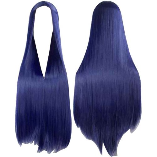 Center Parting Long Straight Cosplay Wig for Halloween Anime Fans [Deep Blue]