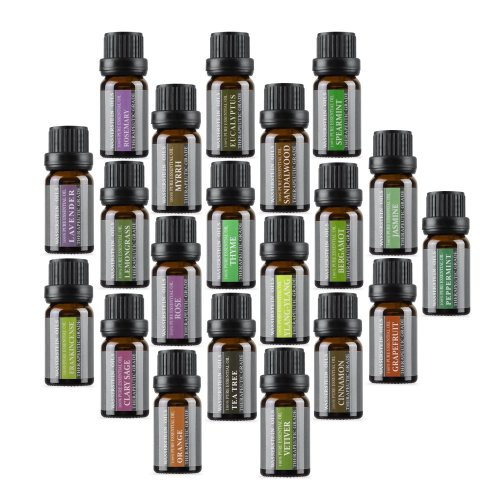 Top 20 Aromatherapy Essential Oil, 10ml, 100% Pure & Natural by Wasserstein (Lavender, Tea Tree, Eucalyptus, Lemongrass, Orange Peppermint, and...