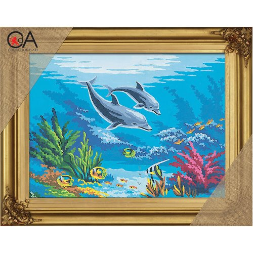 Collection D'art Stamped Needlepoint Kit 22X30cm-Dolphins In Coral