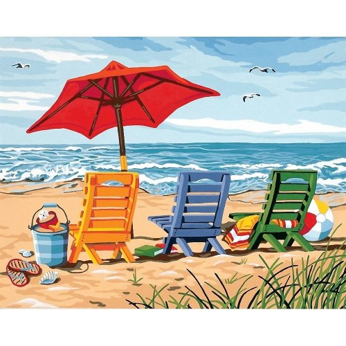 DPW91316 - Paintsworks Paint by Numbers - Beach Chair Trio