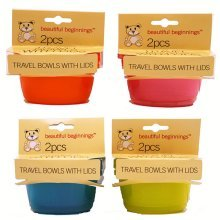 Travel Bowls with Lid (assorted Colours) 2 Pack