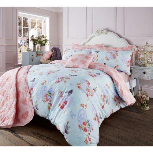 Love Bird turquoise cotton blend duvet cover