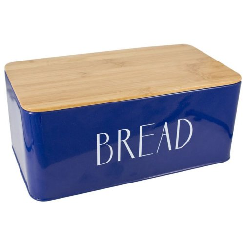 Blue Bread Bin Bread Crock with Bamboo Lid That Can Be Used As Chopping Board
