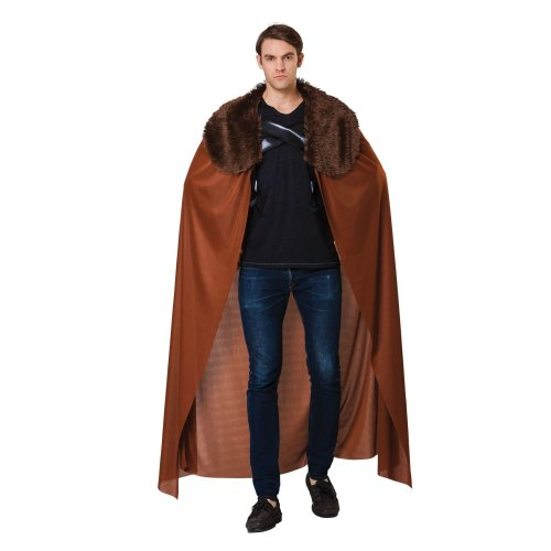 Bristol Novelty Ac062 Men's Cape With Faux Fur Collar (one Size) - Fancy Dress -  fancy dress mens cape fur collar thrones costume game medieval