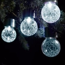 Solalite Set of 6 Solar Hanging Crackle Ball Globe Lights Outdoor Garden Party - White LED