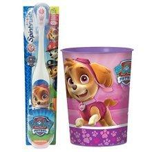 Paw Patrol Skye Toothbrush & Rinse Cup Bundle: 2 Items  Spinbrush Toothbrush, Pink Character Rinse Cup