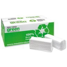 Maxima Green C-fold Hand Towels White 2ply 24 X 100's