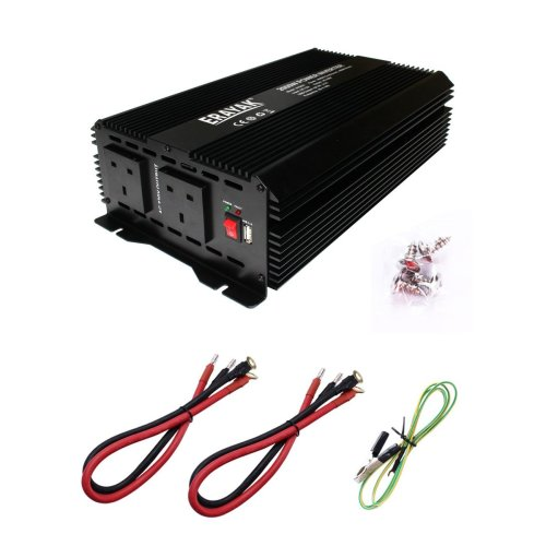 ERAYAK 2000W Power Inverter, DC12V to AC230V Converter with 2 UK Outlets+2.1A USB Ports, Alligator Clips Battery Clamps Cable, for...