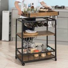 SoBuy® FKW56-N, Industrial Vintage Style 3 Tiers Kitchen Serving Trolley Wine Rack