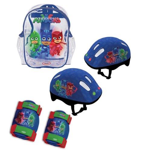 PJ MASKS Children's OPJM004 Kid's Helmet/Knee/Elbow Pads and Bag Protection Pack, Deep Blue, S