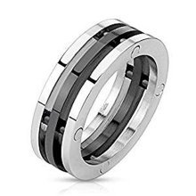 Black Plated Centered 3 Band Bio Mechanical Combination 7.5mm Width Stainless Steel Ring