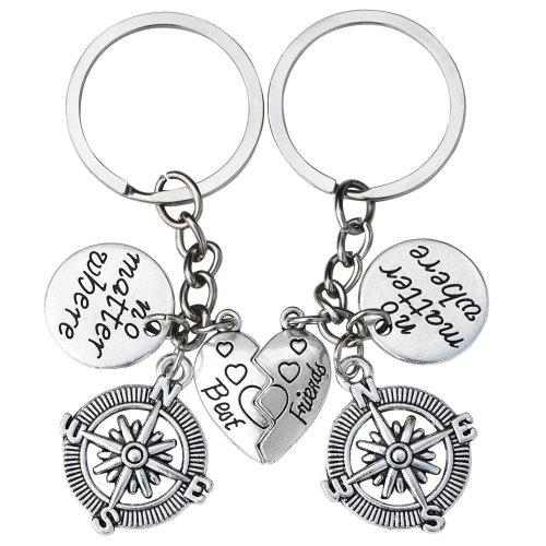 TRIXES Silver Best Friend Heart Shaped Keyring