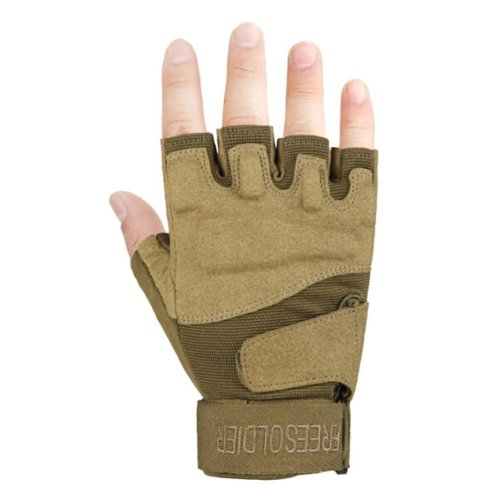 Fingerless Breathable Wear Resistant/Hunting/Climbing/Shooting Gloves BROWN, M