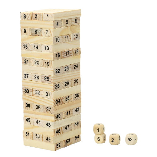 TRIXES 54 Piece Wooden Block Stacking Game with Numbers and Dice