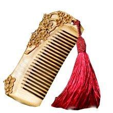 Plum Blossom RED Macrame Palo Santo Comb  Anti-static Wooden Comb