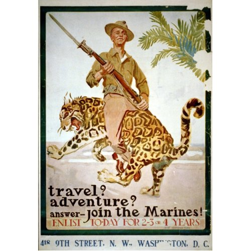 Advertising poster - Travel? Adventure? Answer - Join the Marines! - High definition printing on stainless steel plate