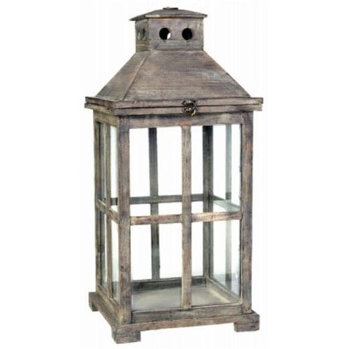 A & B Home 247605 Large Square Graca Temple Garden Candle Lantern, Antiqued