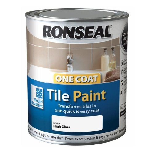 Ronseal One Coat Tile Paint 750ml - HIGH GLOSS  White