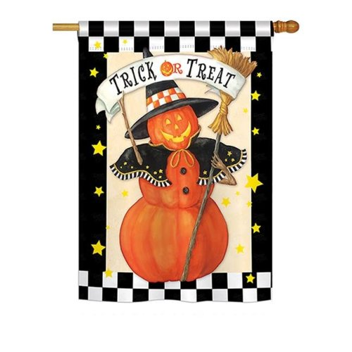 Breeze Decor BD-HO-H-112070-IP-BO-DS02-US Jack-O-Lantern Witch Fall - Seasonal Halloween Impressions Decorative Vertical House Flag - 28 x 40 in.