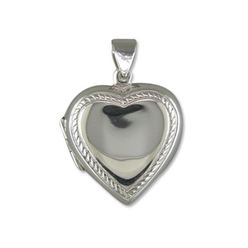 Sterling Silver Plain Heart With Rope Edge Locket On A Snake Necklace
