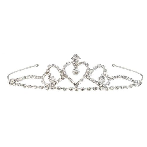Beistle 60076 Royal Rhinestone Tiara, White - Pack of 6