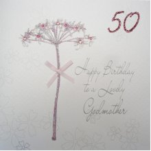 Compare Items Similar To WHITE COTTON CARDS Bd42 50 Dandelion Happy Birthday A Lovely Godmother Handmade 50th Card White