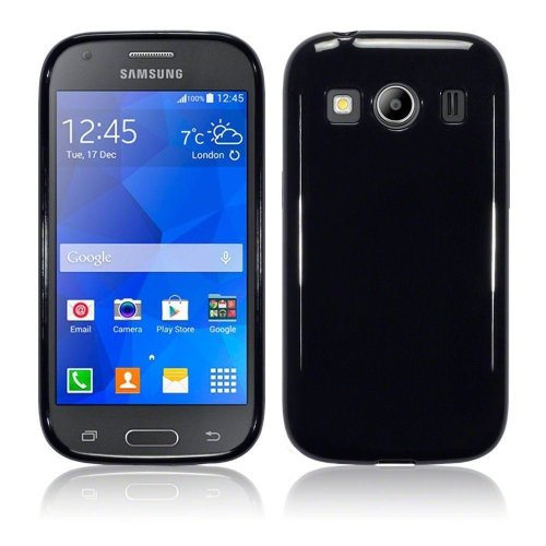 InventCase TPU Gel Case Cover Skin with Screen Protector for Samsung Galaxy Ace 4 2014 - Black