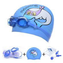Dolphin Pattern Childern Scuba Diving Free Diving Goggles & Swimming Cap, Blue