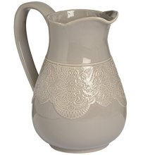 Ceramic Lace Detail Traditional Jug In Grey -  ceramic lace detail traditional jug grey