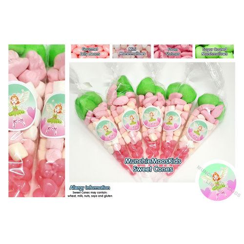 10 x Pre Filled Fairy Sweet Cones 50 grams - Party Bag Sweets