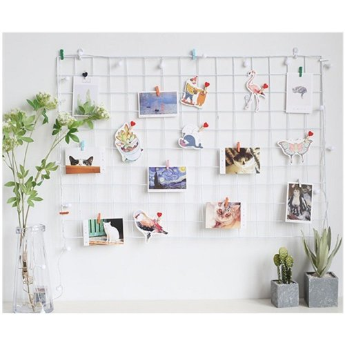 ShouYu DIY Grid Photo Wall,wall grille,Multifunction Wall Mounted Ins Mesh Display Panel,Wall Art Display Organizer,Memo Board(65 * 45cm,white)