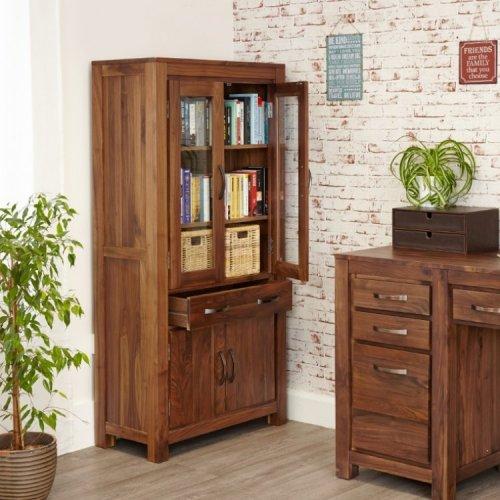 Mayan Walnut Furniture Large Glazed Bookcase