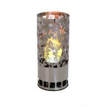 Silk Flame Effect Lamps - Round BUTTERFLY BRAZIER in Silver