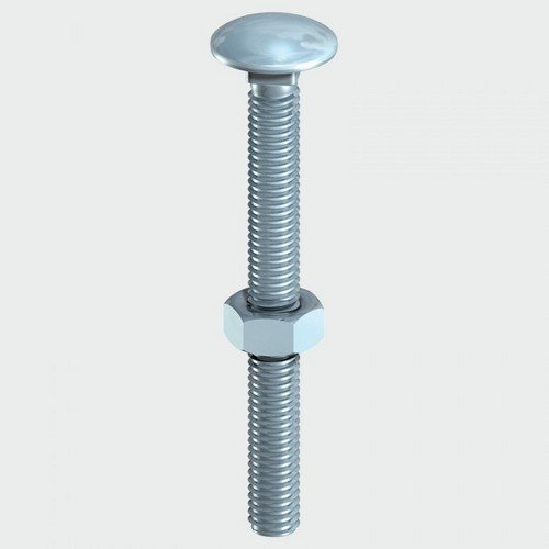 TIMco 0870CB Carriage Bolt and Hex Nut BZP 8.0 x 70mm Box of 50