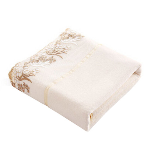 1 Piece Luxury Hotel & Spa Towel Strong Absorbency Bath Towel With Lace,White