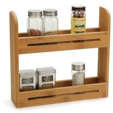 Taylor & Brown Bamboo 2 Tier Spice Herb Jar Rack Holder for Kitchen Door Cupboard & Wall Storage Unit