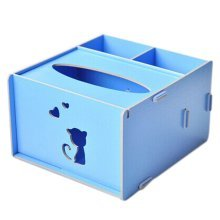 Cute Creative Wooden Kitty Tissue Holder Tissue Box Cover Blue