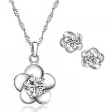 Daisy Flower Necklace and Earrings Set