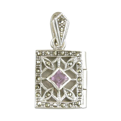 Childrens Sterling Silver Amethyst & Marcasite Oblong Book Locket On A Curb Necklace